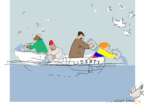 Cartoon: Liberty (medium) by gungor tagged freedom,freedom,boatpeople,flüchtlinge,freiheit,frieden,taube,boot,schiff