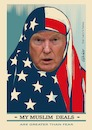 Cartoon: Trump dealer (small) by ESchröder tagged trump,donald,usa,republikaner,präsident,politik,dealer,dollar,amtseinführung,45päsident,der,shepard,fairey,poster,stars,and,stripes,make,great,again,muslima