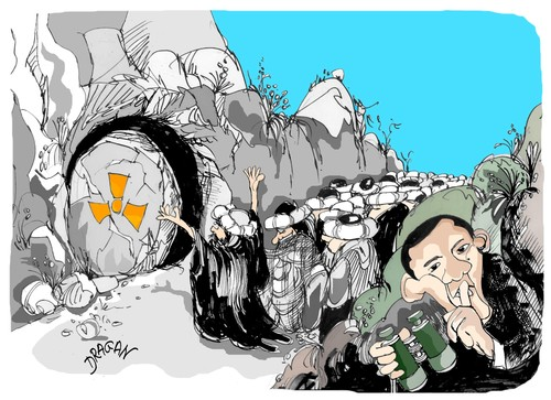 Cartoon: Ali Baba y los cuarenta ladrones (medium) by Dragan tagged iran,barack,obama,mahmud,ahmadineyad