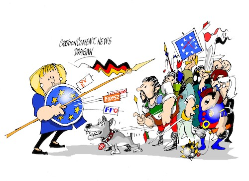 Cartoon: Angela Merkel- extrema derecha (medium) by Dragan tagged angela,merkel,extrema,derecha,europa