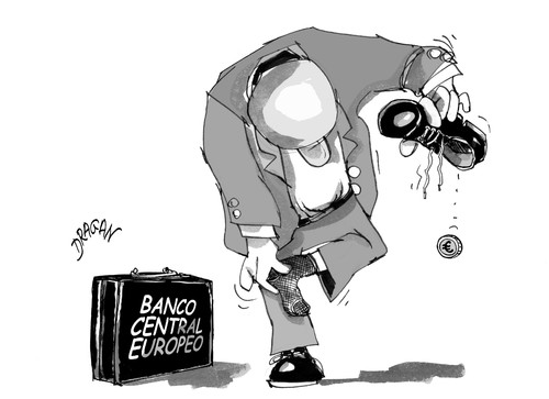Cartoon: BCE-euro (medium) by Dragan tagged banco,central,europeo,euro,bonos,banko,eurozona,politics,cartoon