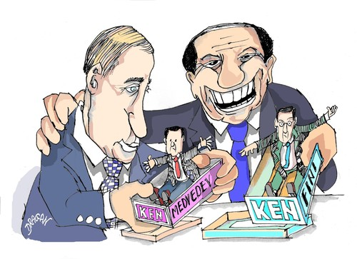 Cartoon: Berlusconi y Putin (medium) by Dragan tagged silvio,berlusconi,vladimir,putin,politics,cartoon