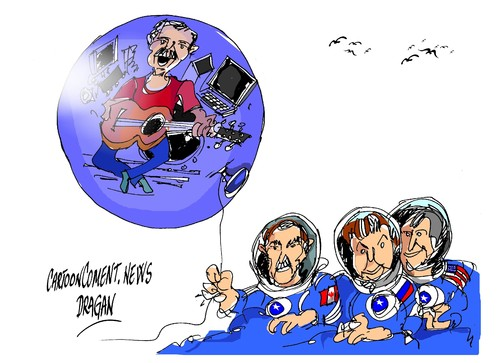 Cartoon: Chris Hadfield-globo (medium) by Dragan tagged chris,hadfield,astronauta,soyuz,kazajstan,estacion,espacial,internacional,cartoon