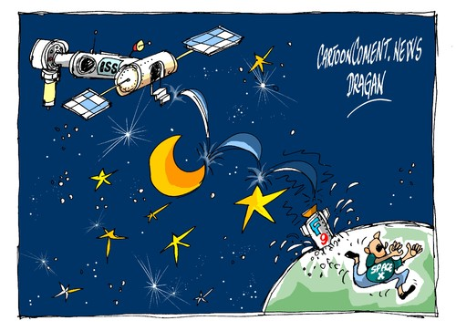 Cartoon: Falcon 9-aterrizaje duro (medium) by Dragan tagged cartoon,tecnica,iss,space,aterrizaje,falcon