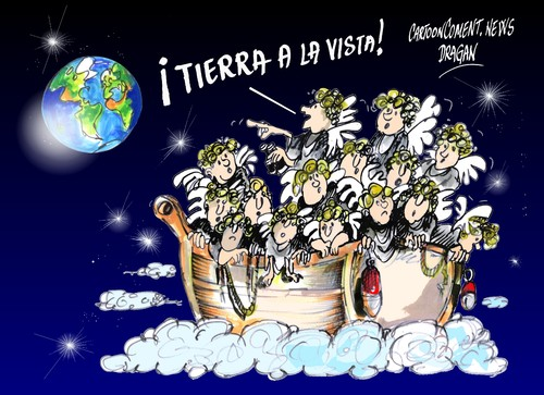 Cartoon: la patera de la esperanza (medium) by Dragan tagged acnur,naciones,unidas,para,los,refugiados,patera,emigracion,naufragio,politics,cartoon,la
