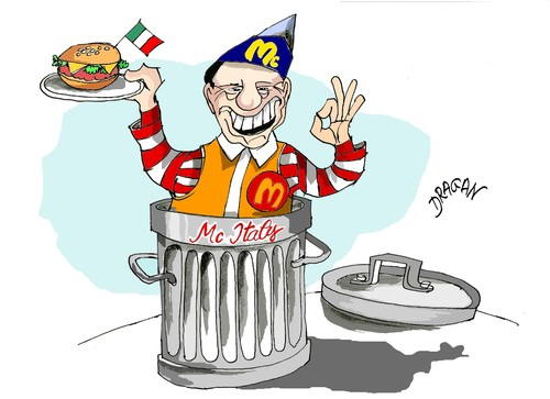 Cartoon: Mc Italy -Berlusconi (medium) by Dragan tagged mc,italy,silvio,berlusconi,italia,politics,cartoon