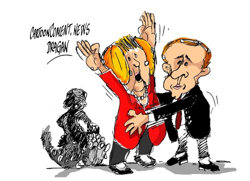 Cartoon: Merkel-Putin-registro (medium) by Dragan tagged angela,merkel,vladimir,putin,feria,de,hannover,alemania,moscu,politics,cartoon