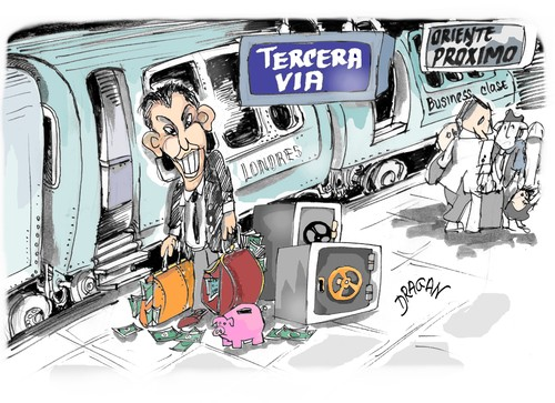 Cartoon: Tony Blair-la Tercera via (medium) by Dragan tagged tony,blair,kurdistan,iraqu,george,bush,ui,energy,corporation,industria,petrolifera,oriente,proximo,reino,unido,politics,caretoon