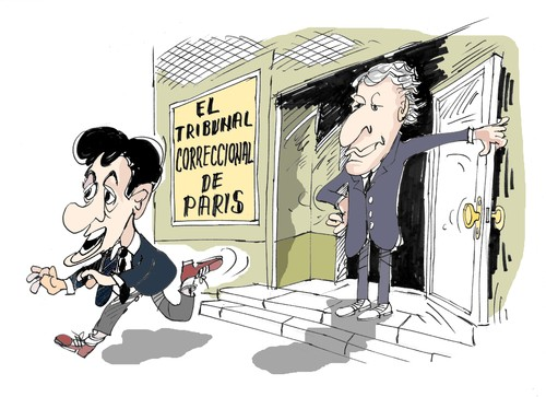 Cartoon: Villepin-Sarkozy (medium) by Dragan tagged dominique,de,villep,nicolas,sarkozy,clearstream,politics