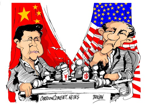 Cartoon: Xi Jinping-Barack Obama (medium) by Dragan tagged xi,jinping,china,barack,obama,estados,unidos,politics,cartoon
