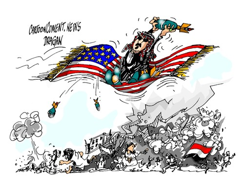 Image result for caricature on conflict in Yemen