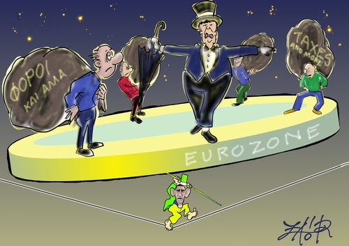Cartoon: Germany s leading role in Europe (medium) by johnxag tagged economy,politics,finance,money,germany,merkel,europe,euro