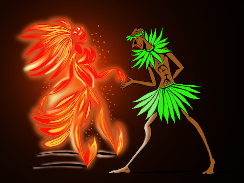 Cartoon: Dance with Fire... (medium) by berk-olgun tagged dance,with,fire