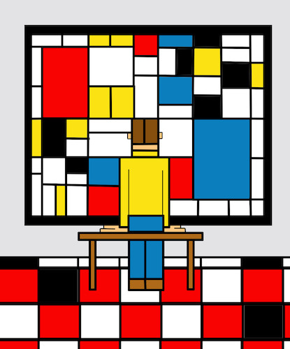 Cartoon: Mondrian Museum... (medium) by berk-olgun tagged mondrian,museum