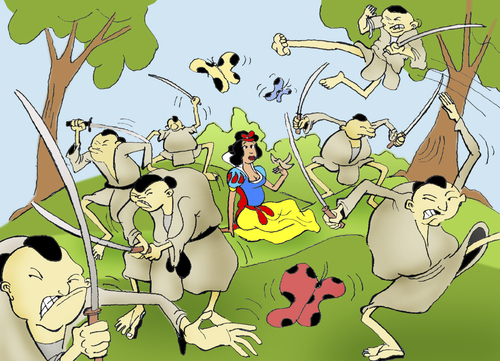 Cartoon: Snow White and the Seven Samurai (medium) by berk-olgun tagged snow,white