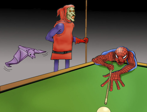 Cartoon: Spiderman vs Hobgoblin.. (medium) by berk-olgun tagged spiderman,vs,hobgoblin