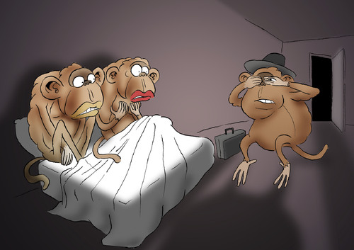 Cartoon: Three Monkeys... (medium) by berk-olgun tagged monkeys,three