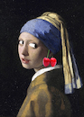 Cartoon: Girl with a Cherry Earring... (small) by berk-olgun tagged girl,with,cherry,earring