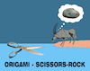Cartoon: Origami Scissors Rock... (small) by berk-olgun tagged origami,scissors,rock