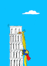 Cartoon: Rapunzel vs Pisa... (small) by berk-olgun tagged rapunzel,vs,pisa