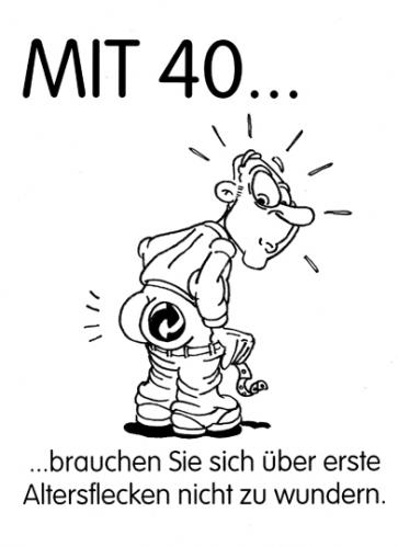 Cartoon: Altersfleck (medium) by Glenn M Bülow tagged grüner,punkt,duales,system,40,altern,aging,geburtstag,midlife,crisis