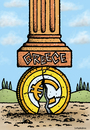 Cartoon: Greece crisis crush the euro (small) by svitalsky tagged greece,crisis,cartoon,euro,coin,area,column,svitalsky,svitalskybros