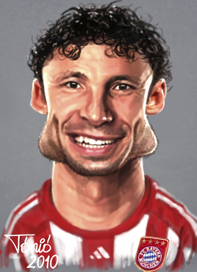 Cartoon: Marc van Bommel FC Bayern (large) by Tonio tagged dutch,holland,soccer,football,nationalmanschaft,münchen,karikatur,fussball