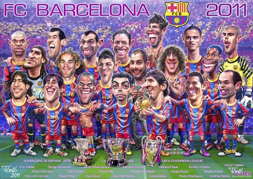 Cartoon: FC Barcelona 2011 poster (medium) by Tonio tagged football