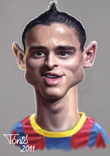 Cartoon: Ibrahim Affelay  FC Barcelona (medium) by Tonio tagged football,fußball,fussball,karikatur,ibrahim affelay,fc barcelona,ibrahim,affelay,fc,barcelona
