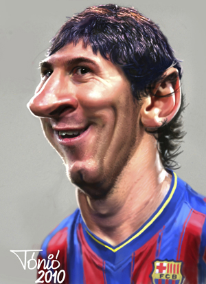 Cartoon  Lionel Messi FC Barcelona  Medium  By Tonio Tagged La Liga