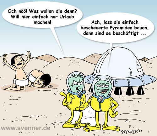 Cartoon: Die Wahrheit über die Pyramiden (medium) by svenner tagged cartoon,history,pyramiden,aliens,die