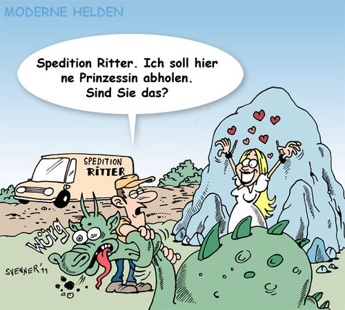 Cartoon: Moderne Helden (medium) by svenner tagged comic,cartoon,helden,märchen,fairytales