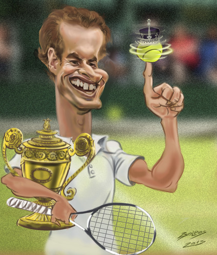 Cartoon: Andy Murray (medium) by zsoldos tagged tennis,sport,murray,chanpion