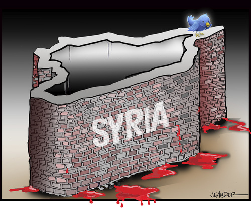Cartoon: Behind the wall of silence (medium) by jeander tagged syria,arab,spring,terror,syrien,terrorismus,terror,twitter