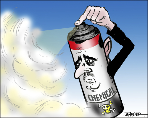 Cartoon: Chemical weapon (medium) by jeander tagged assad,syria,chemical,conflict,war,assad,syria,chemical,conflict,war