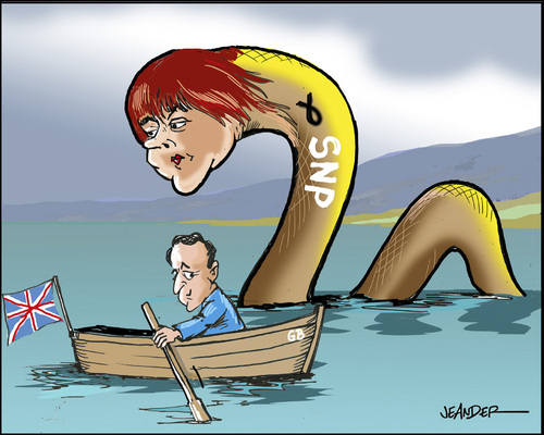 Cartoon: Loch Ness (medium) by jeander tagged loch,scotland,cameron,ncp,sturgeon,ness,sturgeon,ncp,cameron,scotland,loch,ness