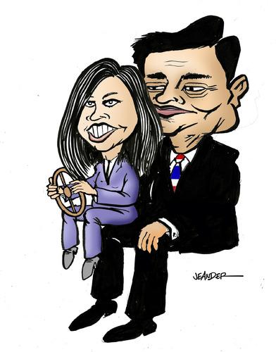 Cartoon: Yingluck Shinawatra (medium) by jeander tagged shinawatra,yingluck,thaksin,pm,primeminister,thailand,shinawatra,yingluck,thaksin,thailand