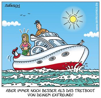 Cartoon: die yacht (medium) by pentrick tagged boot,yacht,meer,urlaub,boat,sea,ocean,vacation,woman,man,frau,mann,