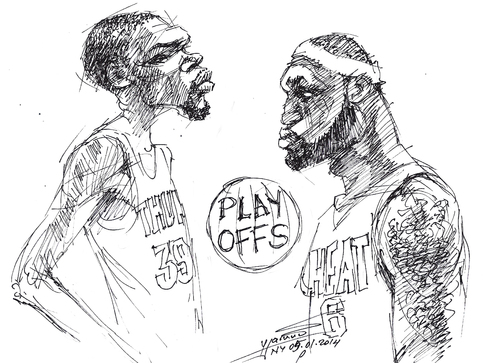 Cartoon: Durant and LeBron (medium) by yllifinearts tagged playoffs,nba,lebron,james,kevin,durant
