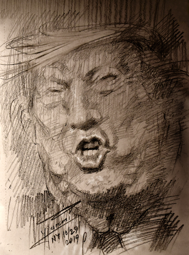 Cartoon: Trump-the Disaster (medium) by yllifinearts tagged trump,moron,president,pervert,idnorant,idiot,donald