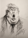 Cartoon: Trump - Fire and Fury (small) by yllifinearts tagged trump,donald,fire,and,fury,president,usa
