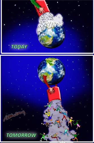 Cartoon: future of our world (medium) by hakanipek tagged future,world,today,tomorrow