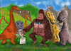 Cartoon: the wedding of the year (small) by hakanipek tagged marriage,love,celebritie,animals,monsters,creatures,gorillas,dinosaurs