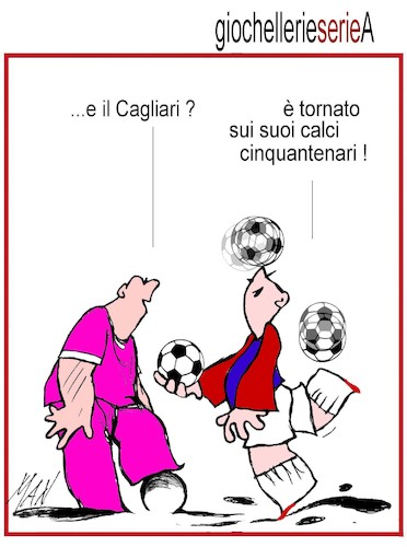Cartoon: il Cagliari A 2019 20 (medium) by Enzo Maneglia Man tagged vignette,umorismo,grafico,spilli,illustrazioni,grafiche,di,maneglia,man,fighillearte,piccolomuseo,fighille