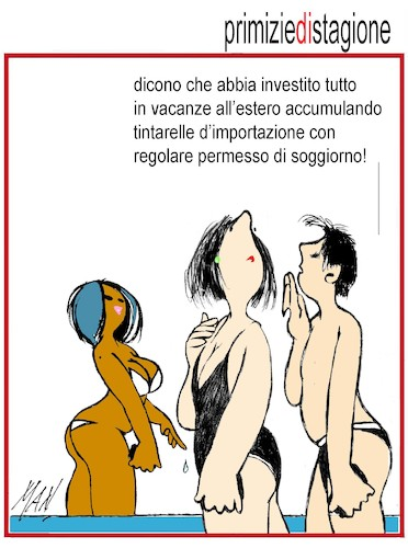 Cartoon: primizie di stagione (medium) by Enzo Maneglia Man tagged vignette,umorismo,bagnanti,man,maneglia,fighillearte