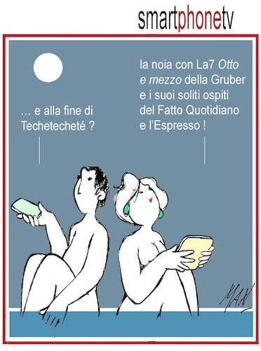 Cartoon: smartphonetv (medium) by Enzo Maneglia Man tagged vignetta,umorismo,spilli,maneglia,man,fighillearte