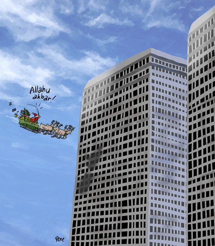 Cartoon: Christmas towers (medium) by rene tagged weihnachten,christmas,towers,twintower,allah,moslem,alkaida,terror,angst,fear,geschenke,xmas,rentier,kutsche,santaclaus,santa,claus