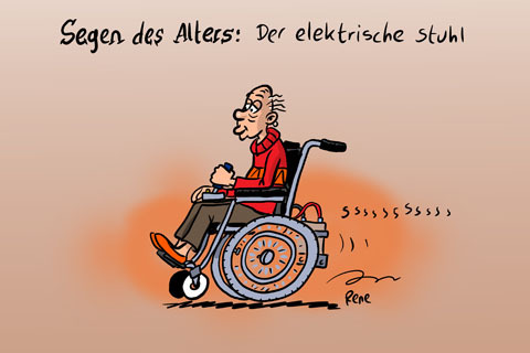 Cartoon: Der elektrische Stuhl (medium) by rene tagged rollstuhl,alter,stuhl,altersheim
