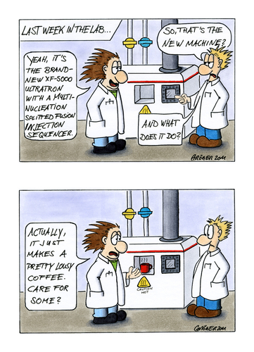 Cartoon: The new machine in the lab... (medium) by JGT tagged the,scientists,science,instrument,geology,chemistry,laboratory,lab