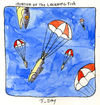 Cartoon: Invasion of the Laughin Fish (small) by mhoogebo tagged fish,parachute,absurdism,watercolour,drawing